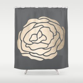 Rose in White Gold Sands on Storm Gray Shower Curtain