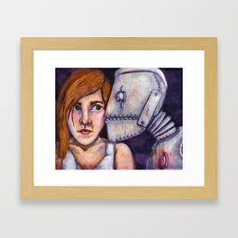 Robot Kiss Framed Art Print