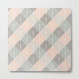 Boho Pattern in Natural Shades Metal Print