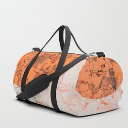 geometric circle pattern abstract in orange and brown Duffle Bag