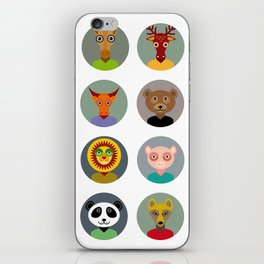 Set of animals faces circle icons set in Trendy Flat Style. zoo iPhone Skin