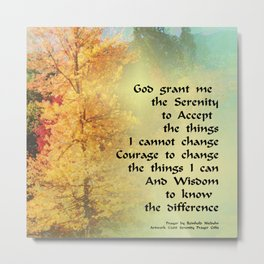 Serenity Prayer Autumn Trees on Green Metal Print