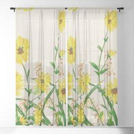 Yellow Wildflowers Sheer Curtain