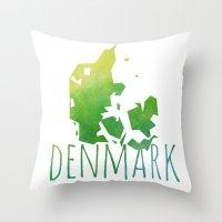 denmark Throw Pillows featuring Denmark by Stephanie Wittenburg