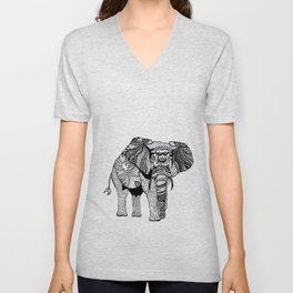 Elephant of Namibia (black & white) Unisex V-Neck