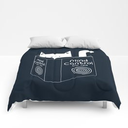 Mind Control For Cats (dark blue) Comforters