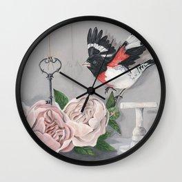 Rose-breasted Grosbeak Victorian Wall Clock