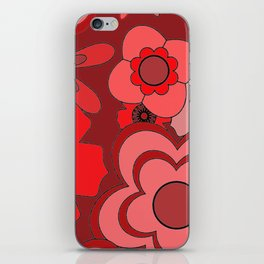 Red Floral Design iPhone Skin