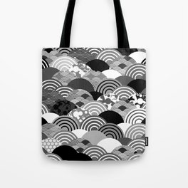 Nature background with japanese sakura flower, Cherry, wave circle Black gray white colors Tote Bag