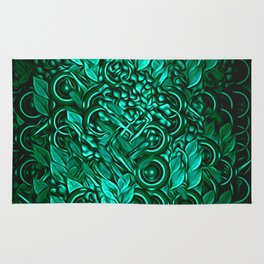 Leafy pattern in Turquoise Rug