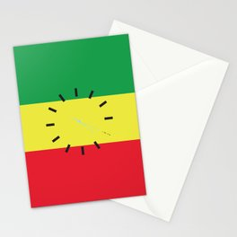 4:20 Clock - Rasta Flag Square Stationery Cards