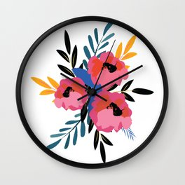 Pink Blue Floral Wall Clock