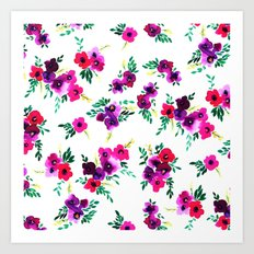 Ava Floral Pink Art Print