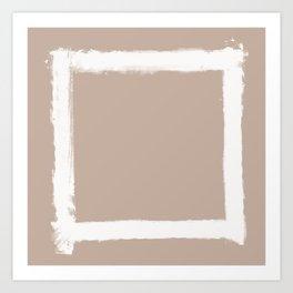 Square Strokes White on Nude Art Print