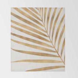 Metallic Gold Palm Leaf Throw Blanket