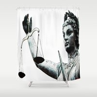 justice league Shower Curtains featuring Justice ? by arnedayan