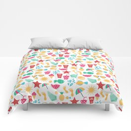 Summer time pattern with colorful beach elements Comforters