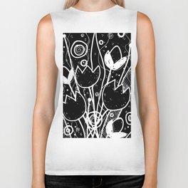 Scribble Doodle Flowers No.2B by Kathy Morton Stanion Biker Tank