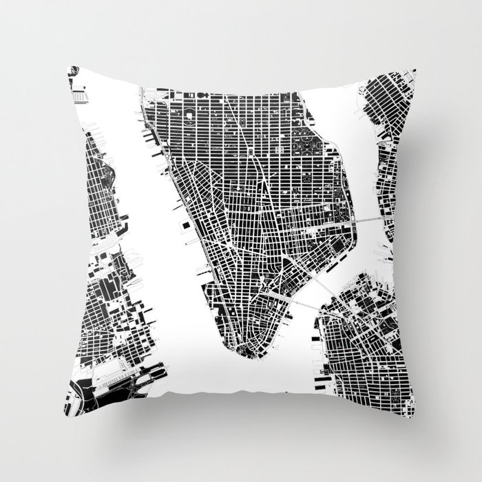 New York city map black and white Throw Pillow