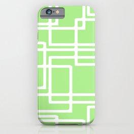 Retro Modern Rectangles On Pastel Green iPhone Case