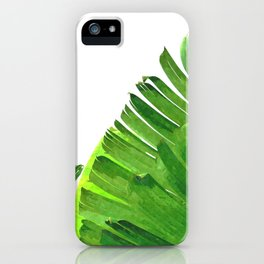 Palm banana leaves tropical watercolor illustration iPhone Case
