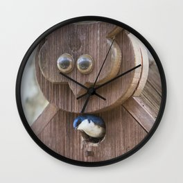 Tree Swallow in Bird House Wall Clock