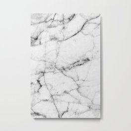 Pure White Real Marble Dark Grain All Over Metal Print