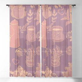kitchen and tea cups pattern Sheer Curtain