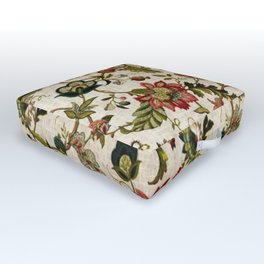Red Green Jacobean Floral Embroidery Pattern Outdoor Floor Cushion