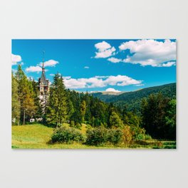 Peles Palace In Transylvania, Architecture Photography, Medieval Castle, Mountain Landscape, Romania Canvas Print