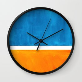 Colorful Jewel Tones Blue Gold Color Block Minimalist Watercolor Art Modern Simple Shapes Wall Clock