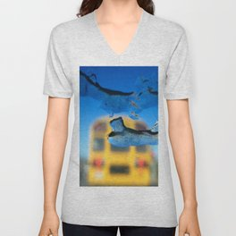yellow bus and ice photography Unisex V-Neck