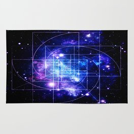 Galaxy sacred geometry Golden Mean Deep Blue Rug