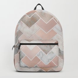 Rose Gold and Marble Geometric Tiles Backpack