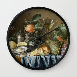 Jan Davidsz De Heem - Still Life With Oysters And Grapes Wall Clock