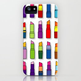 Colorful Lipsticks Girly Beauty Make-up Pattern  iPhone Case