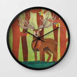Majestic Stag in Forest Wall Clock