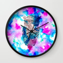 Floral owl illustration pink blue watercolor Wall Clock