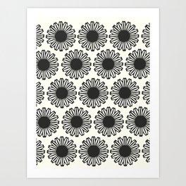 vintage flowers black Art Print