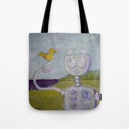 Robot Meets Bird Tote Bag