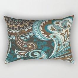 Turquoise Brown Vintage Paisley Rectangular Pillow
