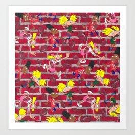 Hey Arnold Gerald Helga Nickelodeon 90s pattern Art Print