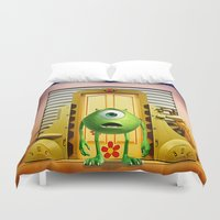 monster inc Duvet Covers featuring  Monster Inc Mike Wazowski by Thorin