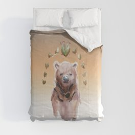 Les fleurs au-dessus d'ours GOLD Comforters