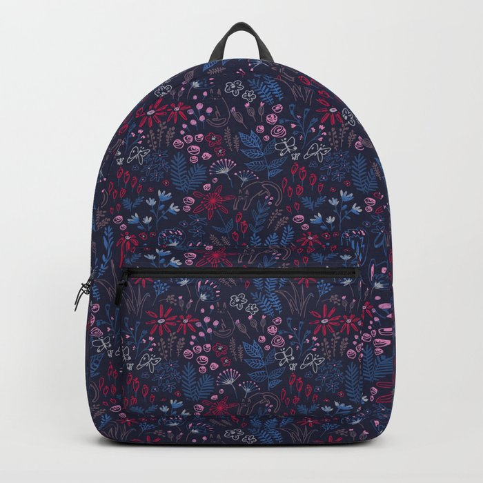 Flowers with cats pattern Backpack