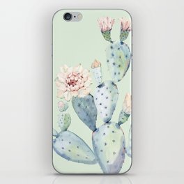 Prettiest Mint Cactus Rose iPhone Skin