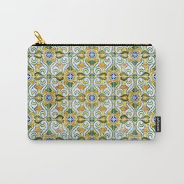 Seamless Floral Pattern Ornamental Tile Design : 9 yellow, green Carry-All Pouch