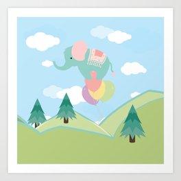 Elephant and Balloons, nursery decor , Art Print