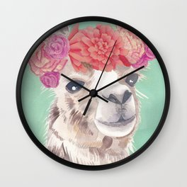 Flower Crown Llama Wall Clock