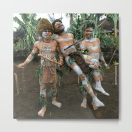 Papua New Guinea Villagers 'Play Fighting' Metal Print